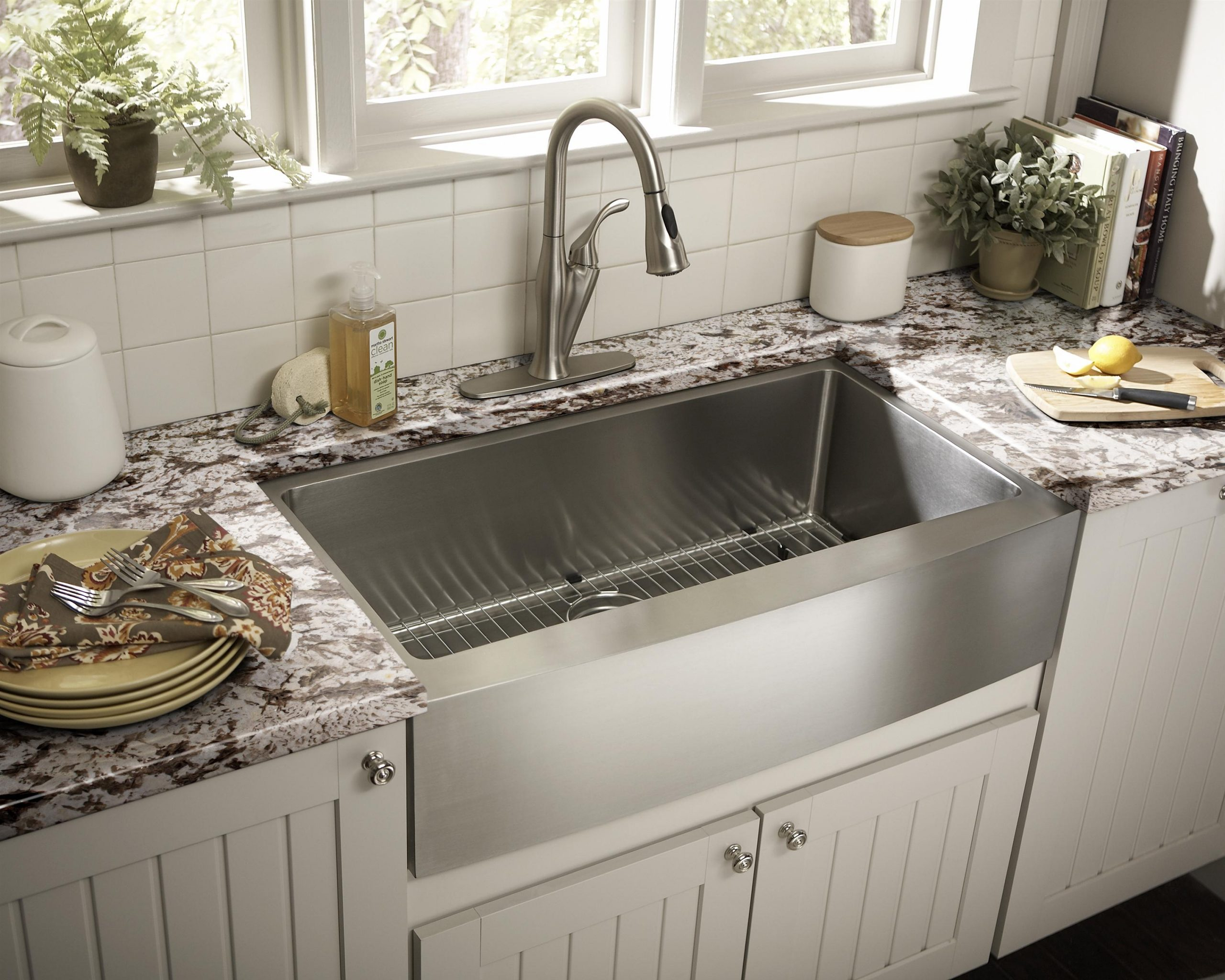 desain dapur dengan modern eropa wastafel cuci piring