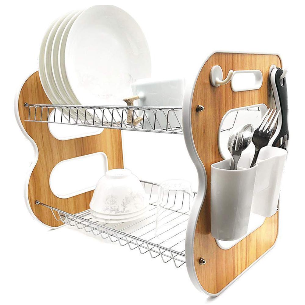 desain rak piring kitchen set kekinian bahan kayu dan stainless