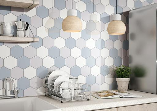 Keramik dinding dapur Unik Bermotif 3D
