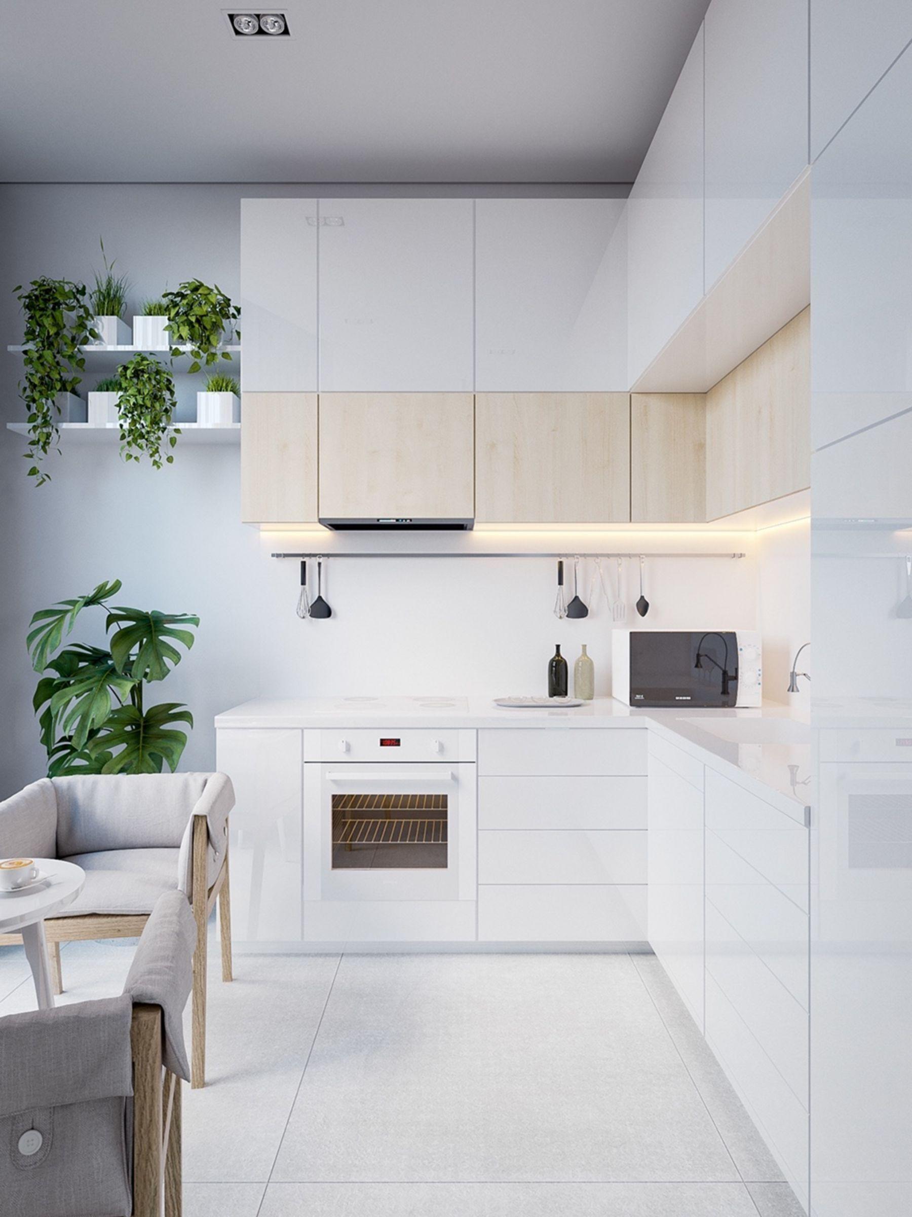 Lantai Dapur Putih Polos dengan lemari dapur putih modern