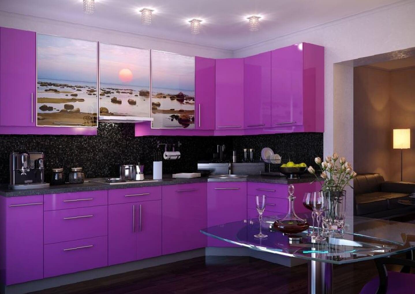 dekorasi kabinet dapur warna ungu yang unik