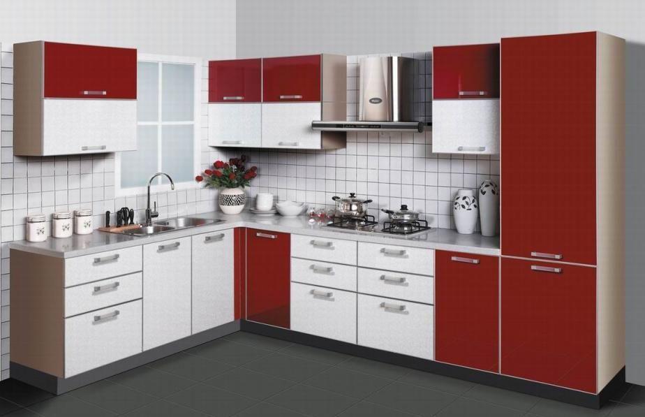 kabinet dapur desain semi modern dengan campuran warna merah dan putih