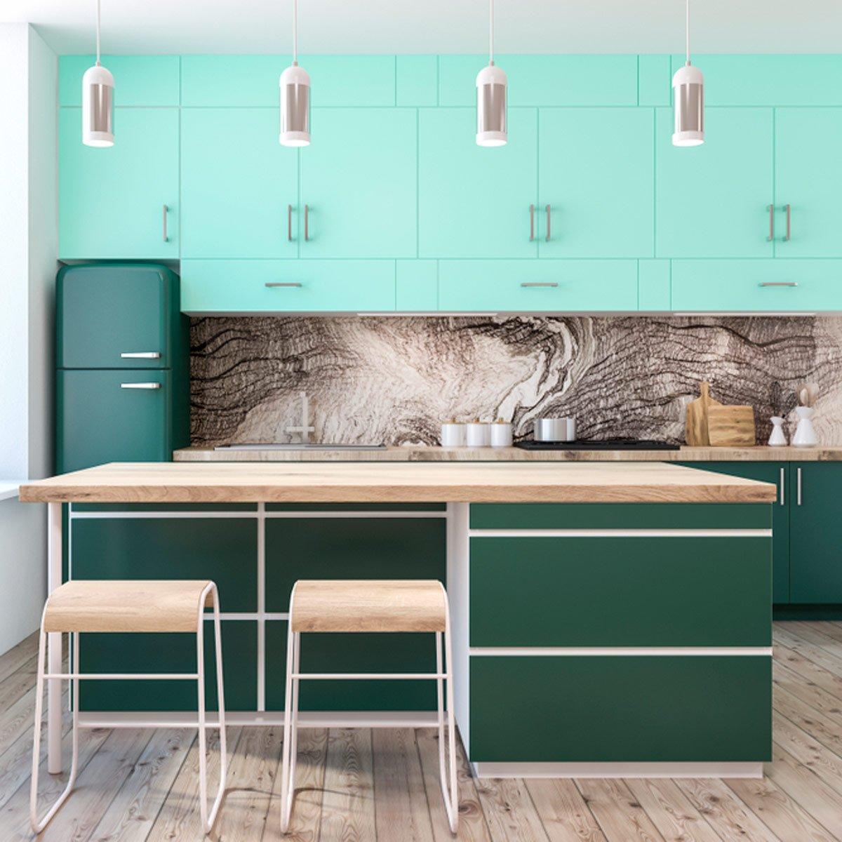 kabinet dapur minimalis gaya perumahan klasik hijau segar