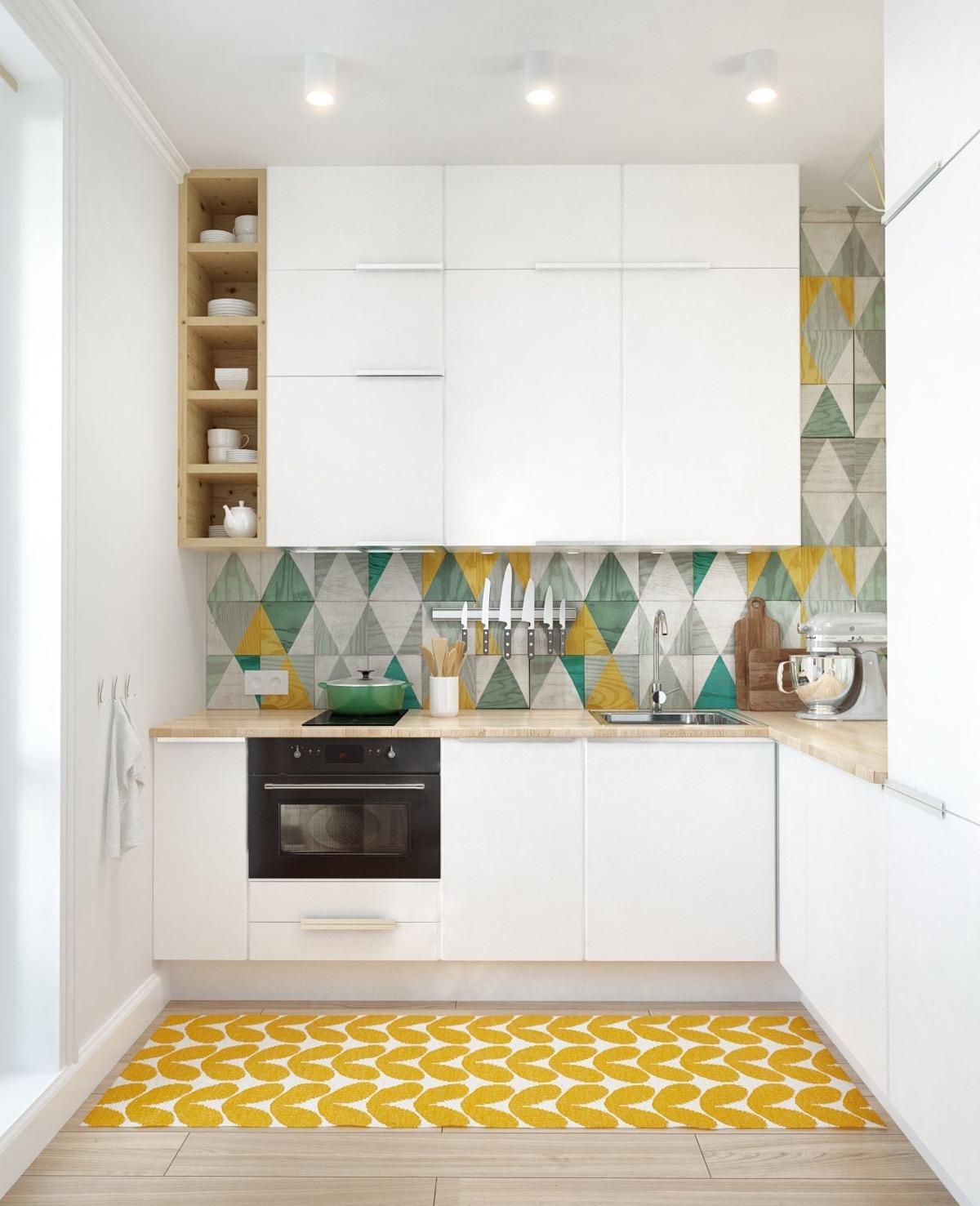 keramik dapur bermotif dengan kabinet warna putih desain dapur minimalis
