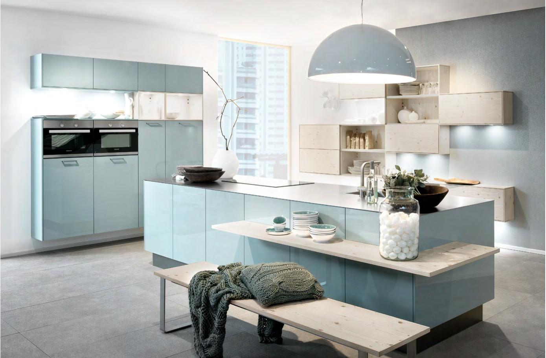 lampu dapur rumah minimalis tema biru muda