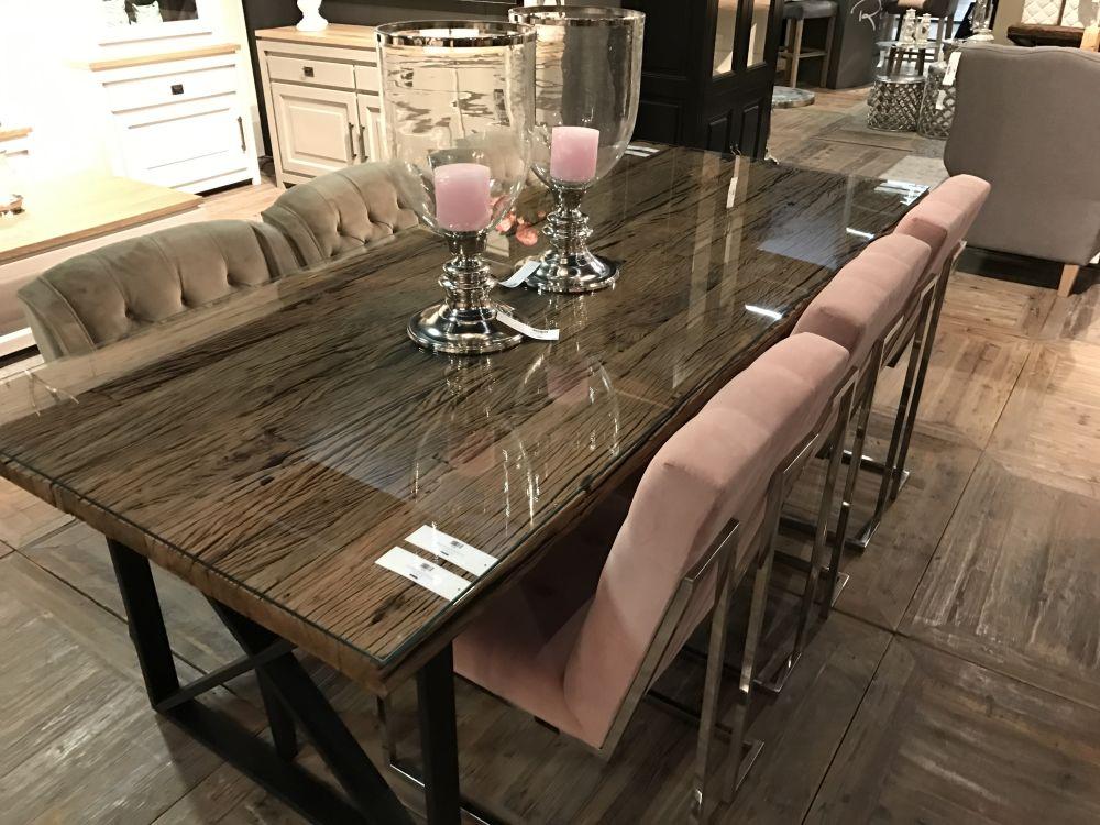 mewah meja dapur kayu atas kaca bentuk persegi panjang