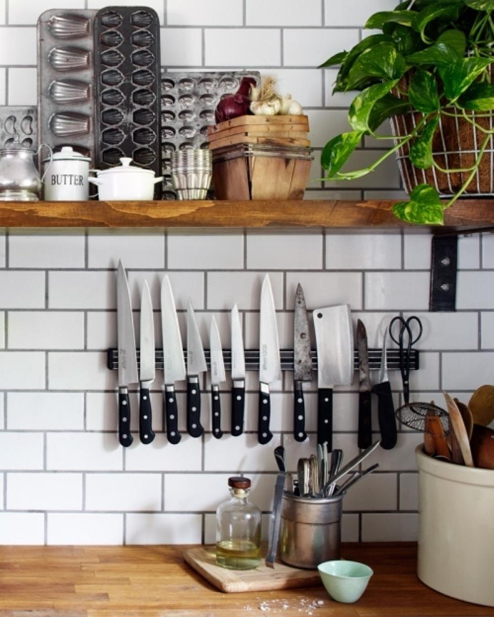 rak pisau magnetik dinding dapur minimalis