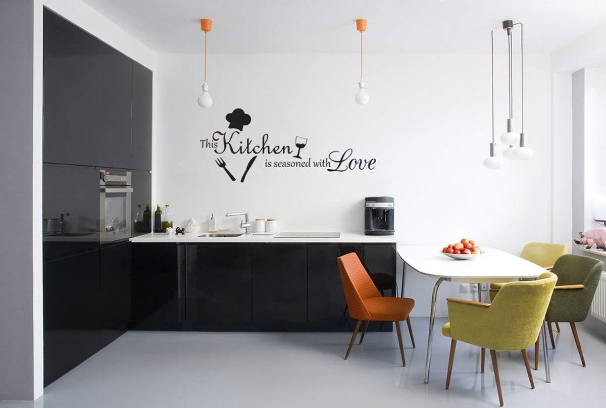 dekorasi dapur modern minimalis dengan tulisan dinding motivasi