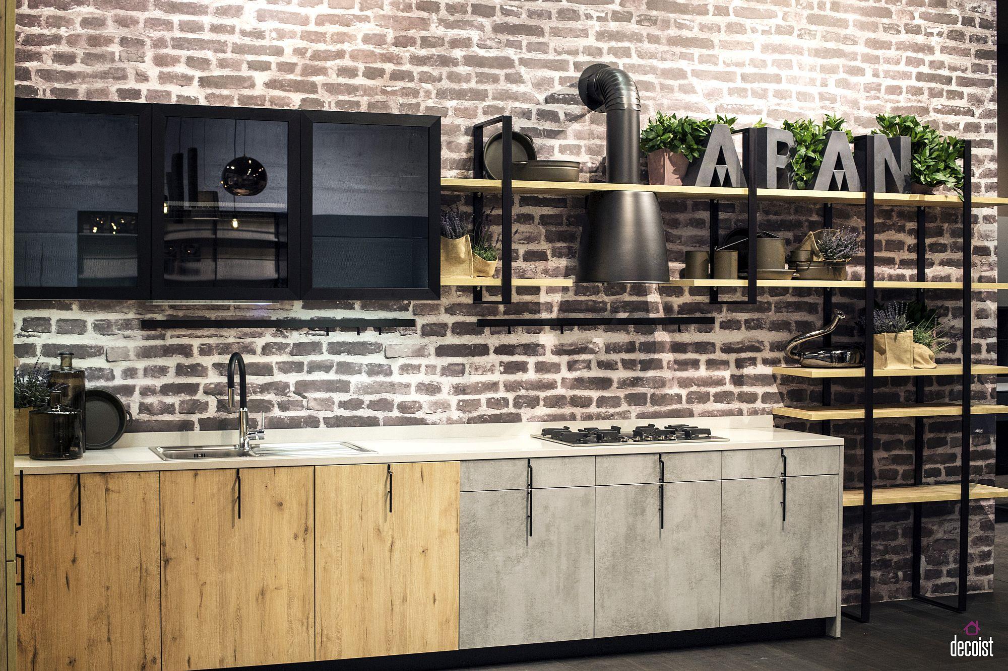 dinding dapur material bata dengan desain dapur minimalis