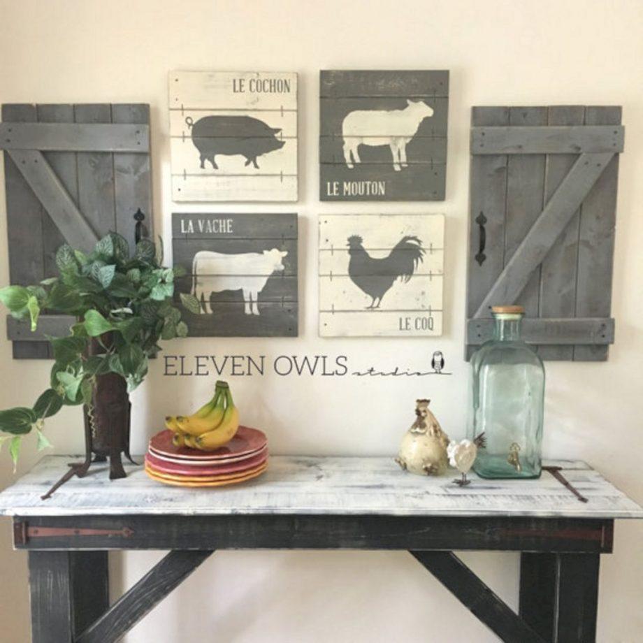 hiasan dinding dapur bergaya pedesaan