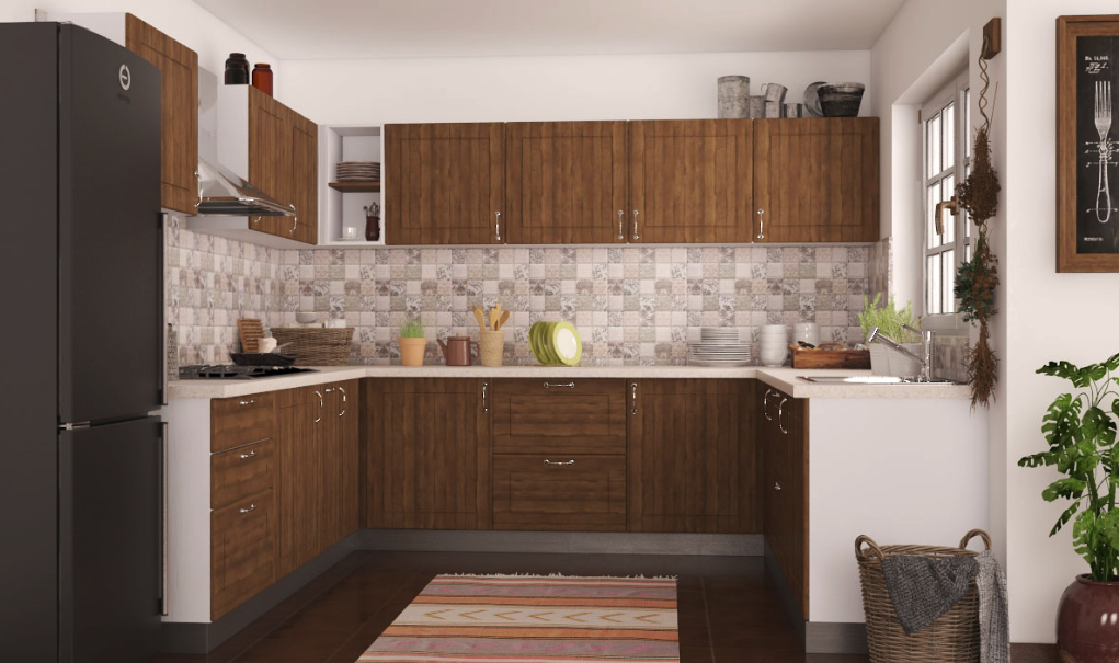 warna lemari dinding dapur peach